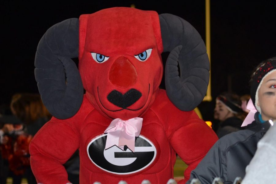 The new Ram mascot at the East-South football game