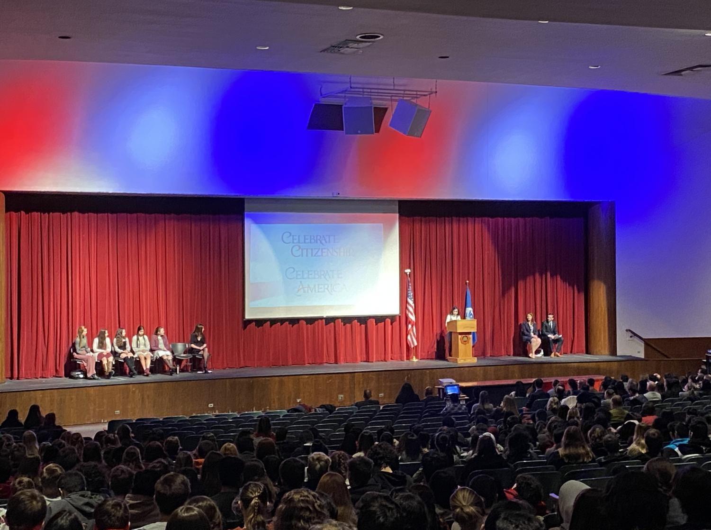 Jen Carmona speaks at East naturalization ceremony