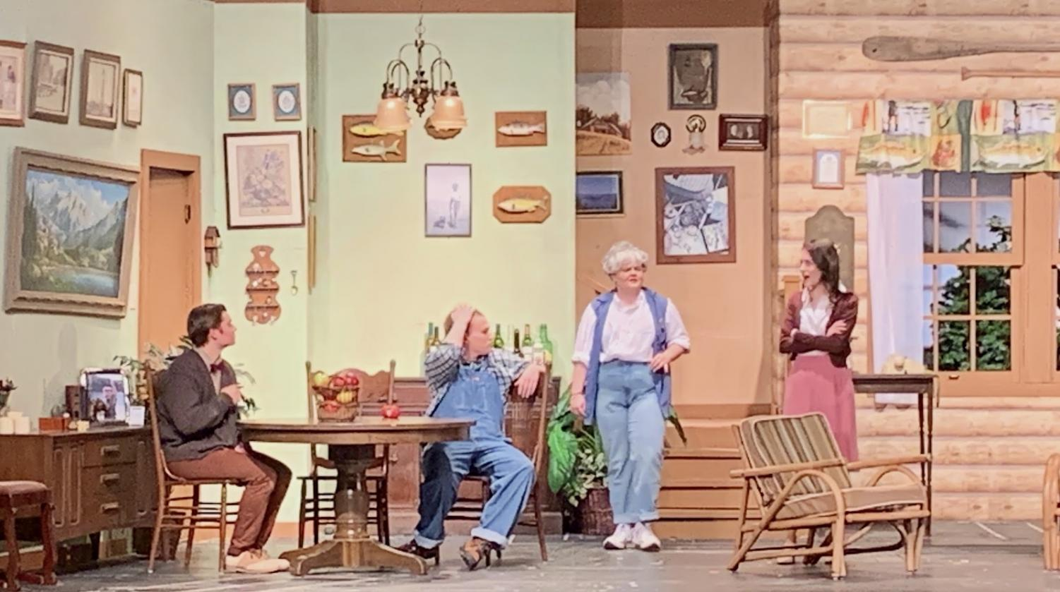 """Characters Betty and Catherine tell Ellard off for mimicking Charlie's strange behaviors in Larry Shue's """"The Foreigner."""" This comedy was performed at Glenbard East February 5th through the 8th."""